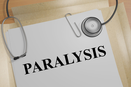 inability: 3D illustration of PARALYSIS title on a document