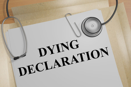palliative: 3D illustration of DYING DECLARATION title on a document Stock Photo