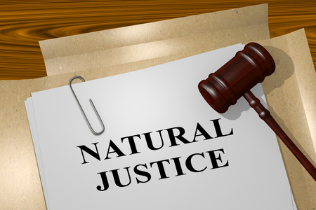 environmental policy: 3D illustration of NATURAL JUSTICE title on legal document