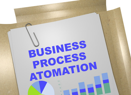 3D illustration of BUSINESS PROCESS ATOMATION title on business document