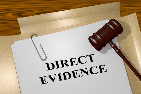 clues: 3D illustration of DIRECT EVIDENCE title on legal document Stock Photo