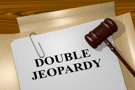 3D illustration of DOUBLE JEOPARDY title on legal document