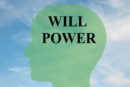 will: Render illustration of WILL POWER script on head silhouette, with cloudy sky as a background. Stock Photo