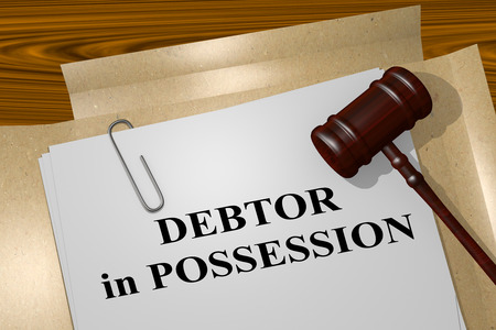 debtor: 3D illustration of DEBTOR in POSSESSION title on legal document Stock Photo