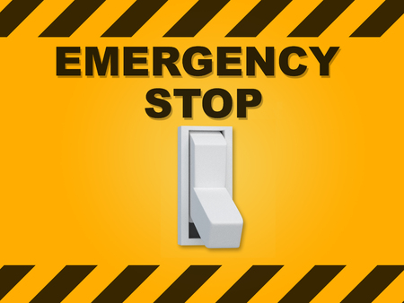 3D illustration of EMERGENCY STOP title above an electric switch on yellow wall Stock Photo