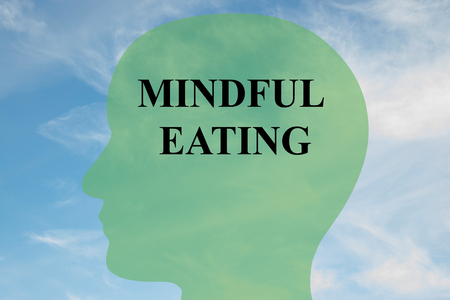 mindful: Render illustration of MINDFUL EATING script on head silhouette, with cloudy sky as a background.
