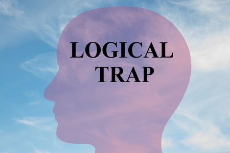 Render illustration of LOGICAL TRAP title on head silhouette, with cloudy sky as a background.