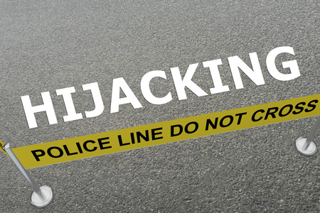 hijacking: 3D illustration of HIJACKING title on the ground in a police arena
