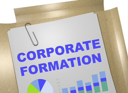 incorporation: 3D illustration of CORPORATE FORMATION title on business document Stock Photo