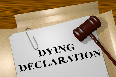 palliative: 3D illustration of DYING DECLARATION title on legal document Stock Photo