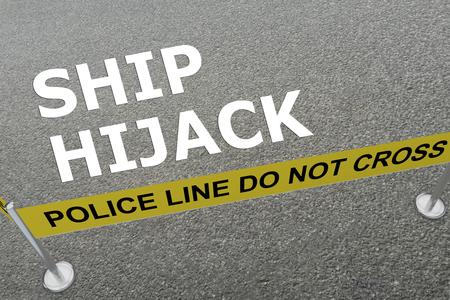 """Illustration 3D de """"SHIP HIJACK"""" titre sur le sol dans une arène de police Banque d'images - 66537869"""