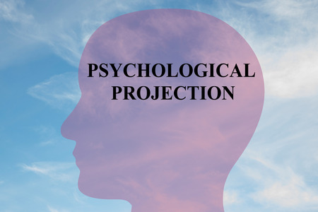 conceiving: Render illustration of PSYCHOLOGICAL PROJECTION title on head silhouette, with cloudy sky as a background. Stock Photo