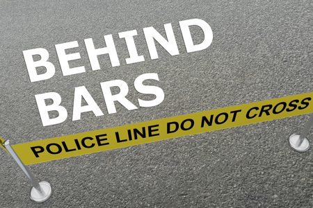 3D illustration of BEHIND BARS title on the ground in a police arena