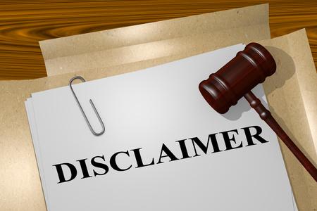"""3D illustratie van """"DISCLAIMER"""" titel op juridisch document Stockfoto"""