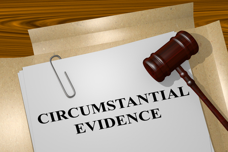 3D illustration of CIRCUMSTANTIAL EVIDENCE title on legal document