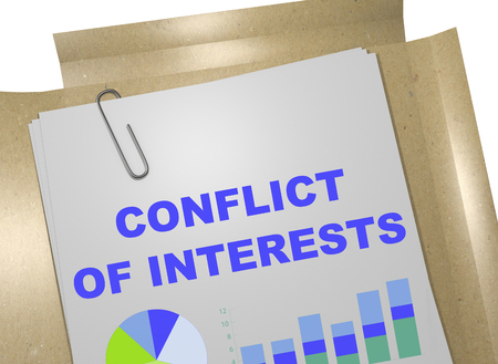 strife: 3D illustration of CONFLICT OF INTERESTS title on business document