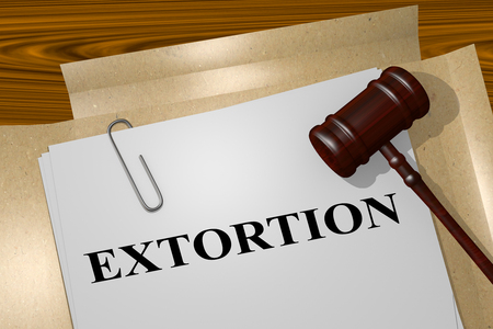 extortion: 3D illustration of EXTORTION title on legal document Stock Photo