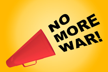 intimidation: 3D illustration of NO MORE WAR! title flowing from a loudspeaker.