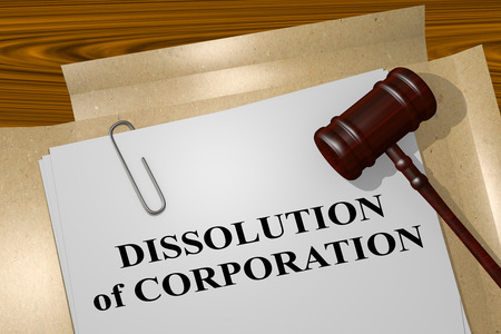 dissolution: 3D illustration of DISSOLUTION of CORPORATION title on legal document Stock Photo