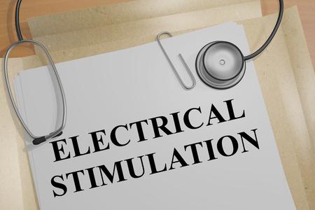 stimulation: 3D illustration of ELECTRICAL STIMULATION title on a medical document
