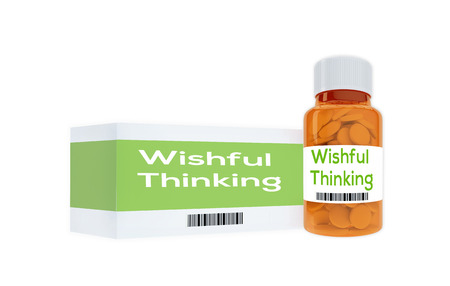 wishful: 3D illustration of Wishful Thinking title on pill bottle, isolated on white.