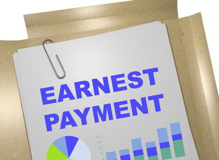 """3D illustratie van """"EARNEST betaling"""" titel op zakelijk document Stockfoto"""