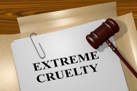 法的文書に「極端な残酷さ」タイトルの 3 D イラストレーション 写真素材