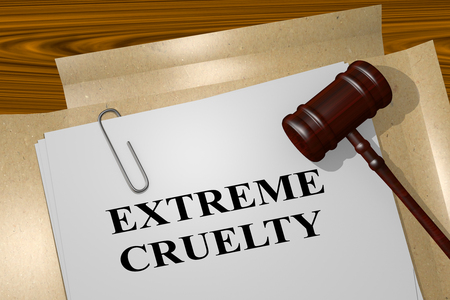 cruelty: 3D illustration of EXTREME CRUELTY title on legal document