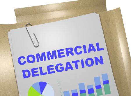 delegation: 3D illustration of COMMERCIAL DELEGATION title on business document
