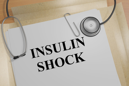 percolate: 3D illustration of INSULIN SHOCK title on a medical document Stock Photo