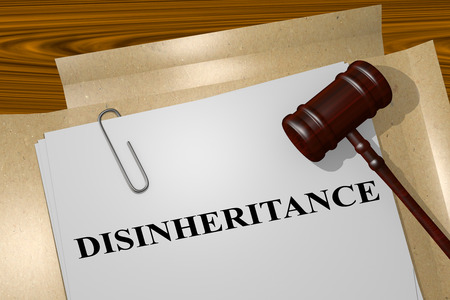 3D illustration of DISINHERITANCE title on legal document