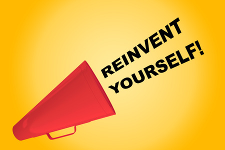 3D illustration of REINVENT YOURSELF! title flowing from a loudspeaker Stock Photo