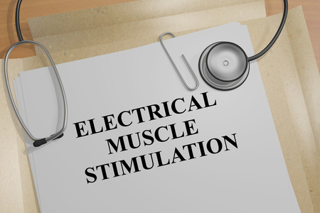 stimulation: 3D illustration of ELECTRICAL MUSCLE STIMULATION title on a medical document Stock Photo