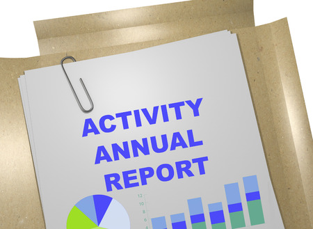 3D illustration of ACTIVITY ANNUAL REPORT title on business document
