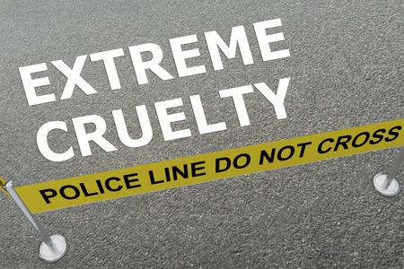 警察アリーナの地面に「極端な残酷さ」タイトルの 3 D イラストレーション