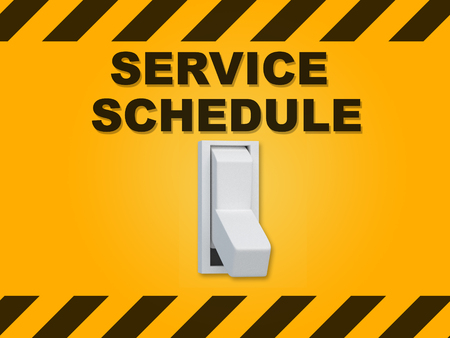3D illustration of SERVICE SCHEDULE title above an electric switch on yellow wall