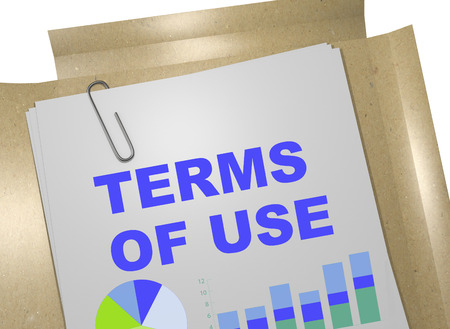 3D illustration of TERMS OF USE title on business document Stock Photo