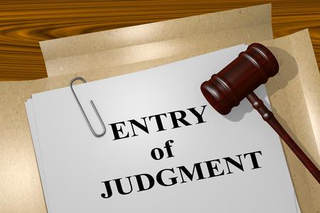 """3D illustratie van """"binnenkomst van oordeel"""" titel op juridisch document"""