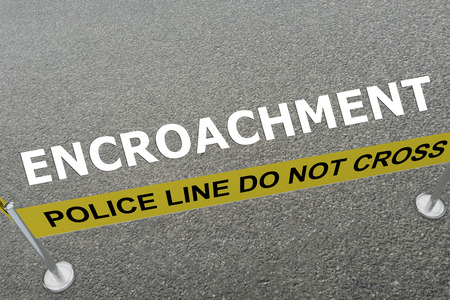 rural development: 3D illustration of ENCROACHMENT title on the ground in a police arena