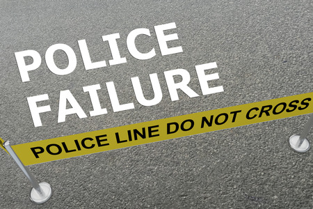 detention: 3D illustration of POLICE FAILURE title on the ground in a police arena