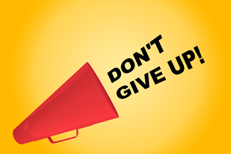 3D illustration of DONT GIVE UP! title flowing from a loudspeaker. Stock Photo