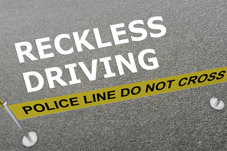 reckless: 3D illustration of RECKLESS DRIVING title on the ground in a police arena