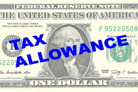 taxpayer: Render illustration of TAX ALLOWANCE title on One Dollar bill as a background Stock Photo