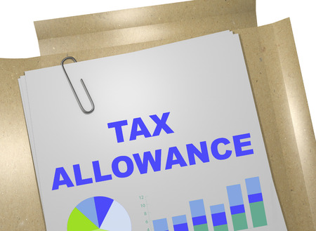 taxpayer: 3D illustration of TAX ALLOWANCE title on business document