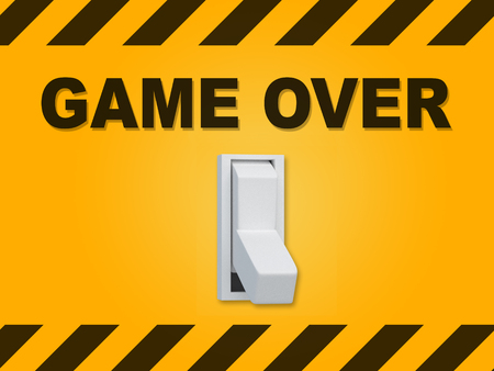 3D illustration of GAME OVER title above an electric switch on yellow wall