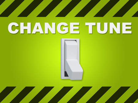 filtering: 3D illustration of CHANGE TUNE title above an electric switch on green wall