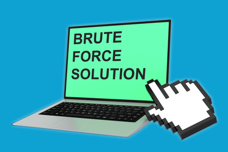 adaptable: 3D illustration of BRUTE FORCE SOLUTION script with pointing hand icon pointing at the laptop screen