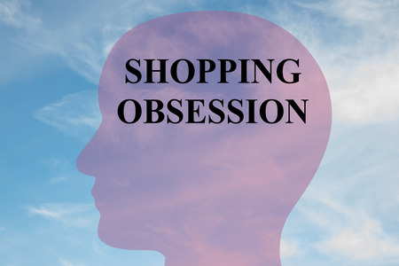 mania: Render illustration of SHOPPING OBSESSION title on head silhouette, with cloudy sky as a background.