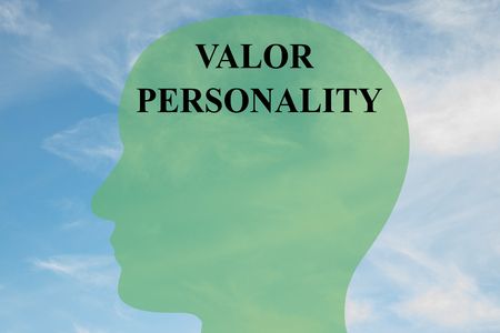 personality: Render illustration of VALOR PERSONALITY script on head silhouette, with cloudy sky as a background.