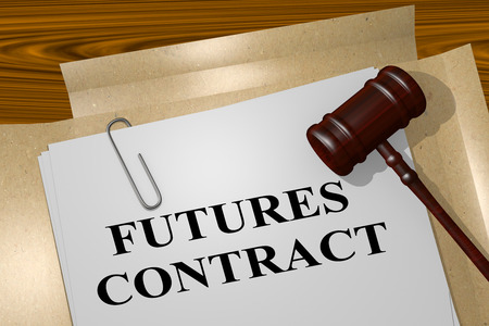 futures: 3D illustration of FUTURES CONTRACT title on legal document
